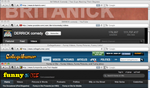 Browser windows for BriTANick, DERRICK Comedy, CollegeHumor, Funny or Die