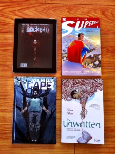 Digital volume 1 of Locke & Key, published volume 1 trades of All-Star Superman, The Cape, The Unwritten