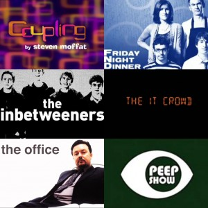 Show logos for Coupling, Friday Night Dinner, The Inbetweeners, The IT Crowd, The Office (UK), Peep Show