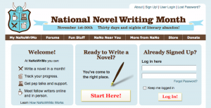 Official website for National Novel Writing Month (NaNoWriMo)