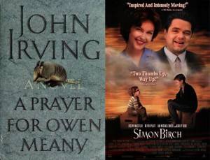 Cover for A Prayer for Owen Meany and movie poster for Simon Birch