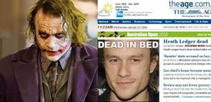 Heath Ledger as the Joker, death headline