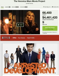 Veronica Mars movie Kickstarter and Arrested Development on Netflix