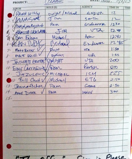 The Office audition sign in sheet