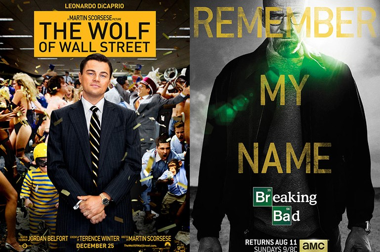 Wolf of Wall Street, Breaking Bad posters