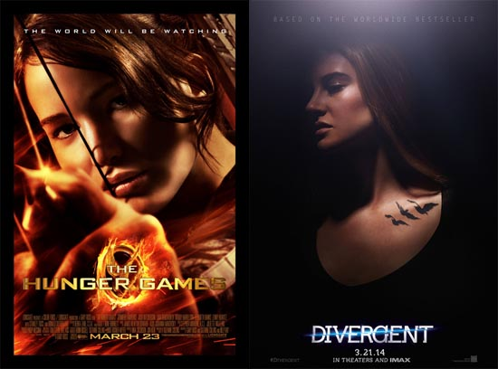 Official posters for The Hunger Games and Divergent